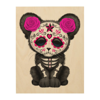 Pink Day of the Dead Black Panther Cub Wood Wall Decor