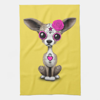Pink Day of the Dead Chihuahua Hand Towel