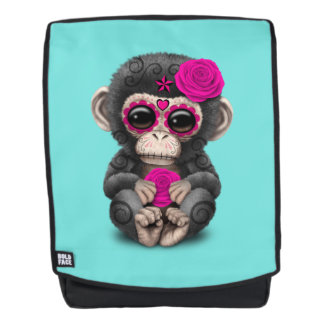 Pink Day of the Dead Chimp Backpack