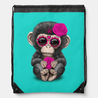 Pink Day of the Dead Chimp Drawstring Bag