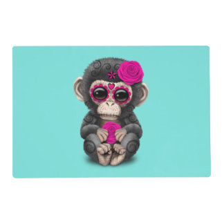 Pink Day of the Dead Chimp Placemat