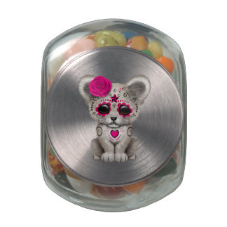 Pink Day of the Dead Lion Cub Glass Candy Jars