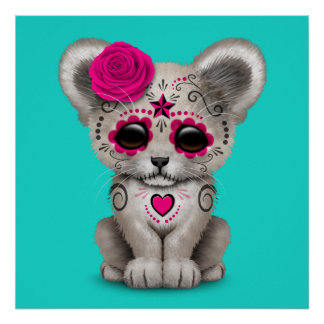 Pink Day of the Dead Lion Cub Poster