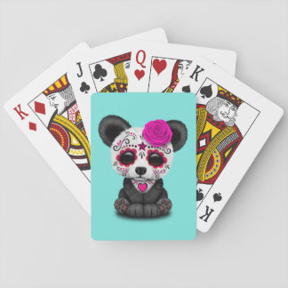 Pink Day of the Dead Panda Cub Playing Cards