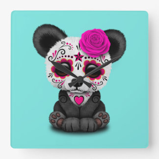 Pink Day of the Dead Panda Cub Square Wall Clock