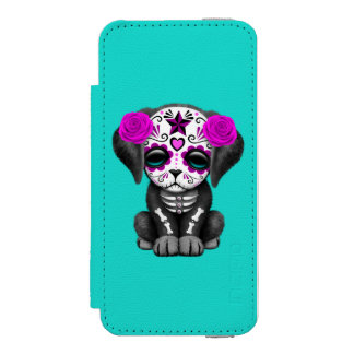 Pink Day of the Dead Puppy Dog iPhone SE/5/5s Wallet Case