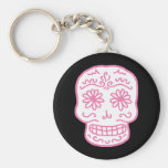 Pink Day of the Dead Skull Keychains