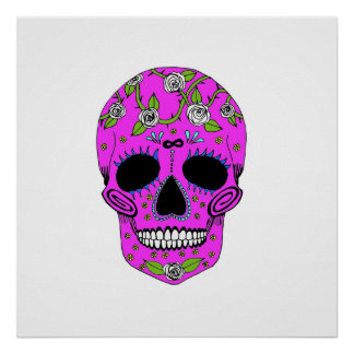 Pink Day of the Dead Skull with Roses Poster