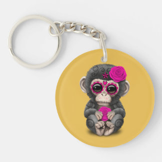Pink Day of the Dead Sugar Skull Baby Chimp Double-Sided Round Acrylic Keychain