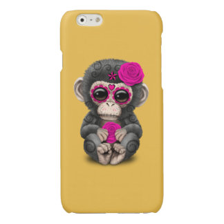 Pink Day of the Dead Sugar Skull Baby Chimp Glossy iPhone 6 Case