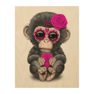 Pink Day of the Dead Sugar Skull Baby Chimp Wood Print