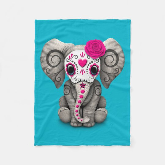 Pink Day of the Dead Sugar Skull Baby Elephant Fleece ...