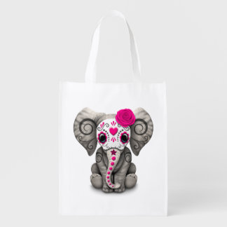 Pink Day of the Dead Sugar Skull Baby Elephant Grocery Bag