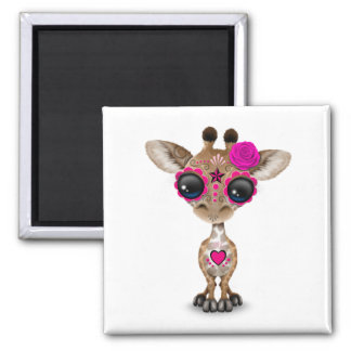 Pink Day of the Dead Sugar Skull Baby Giraffe 2 Inch Square Magnet