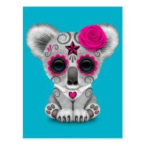 Pink Day of the Dead Sugar Skull Baby Koala Postcard