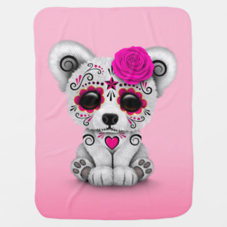Pink Day of the Dead Sugar Skull Bear Baby Blanket