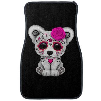 Pink Day of the Dead Sugar Skull Bear Black Car Mat
