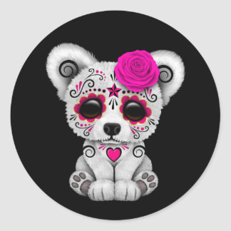 Pink Day of the Dead Sugar Skull Bear Black Classic Round Sticker