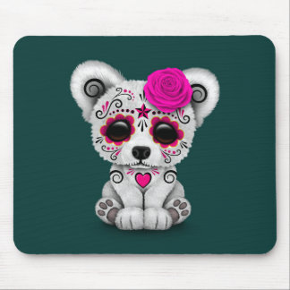 Pink Day of the Dead Sugar Skull Bear Teal Blue Mouse Pad