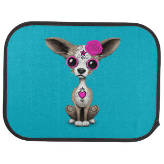 Pink Day of the Dead Sugar Skull Chihuahua Puppy Car Floor Mat
