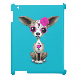 Pink Day of the Dead Sugar Skull Chihuahua Puppy iPad Covers