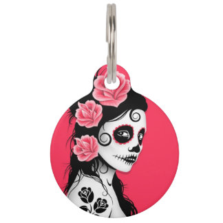 Pink Day of the Dead Sugar Skull Girl Pet Name Tag