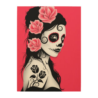 Pink Day of the Dead Sugar Skull Girl Wood Wall Art