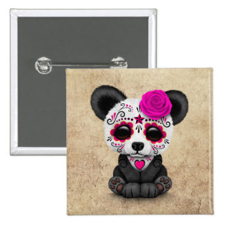 Pink Day of the Dead Sugar Skull Panda Aged 2 Inch Square Button