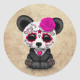Pink Day of the Dead Sugar Skull Panda Aged Classic Round Sticker