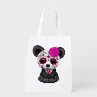 Pink Day of the Dead Sugar Skull Panda Bear Grocery Bag