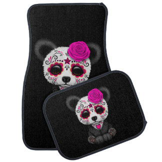 Pink Day of the Dead Sugar Skull Panda on Black Car Floor Mat