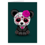 Pink Day of the Dead Sugar Skull Panda on Teal Greeting Card