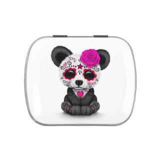 Pink Day of the Dead Sugar Skull Panda on White Jelly Belly Candy Tins