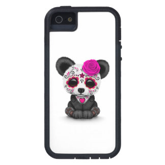 Pink Day of the Dead Sugar Skull Panda on White Cover For iPhone 5