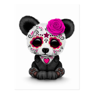 Pink Day of the Dead Sugar Skull Panda on White Postcard