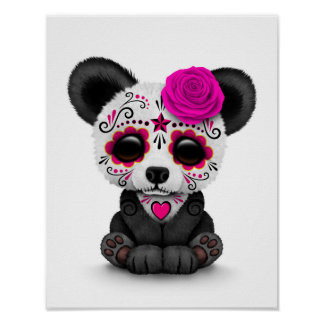 Pink Day of the Dead Sugar Skull Panda on White Poster
