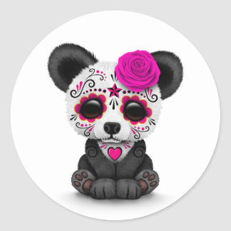 Pink Day of the Dead Sugar Skull Panda on White Round Sticker