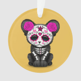 Pink Day of the Dead Sugar Skull Panther Cub Ornament