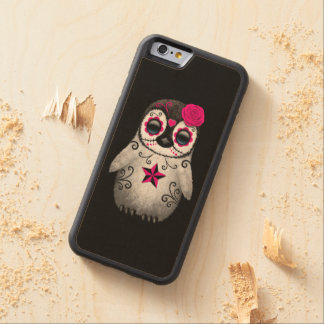 Pink Day of the Dead Sugar Skull Penguin Black Carved Maple iPhone 6 Bumper Case