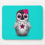 Pink Day of the Dead Sugar Skull Penguin Blue Mouse Pad