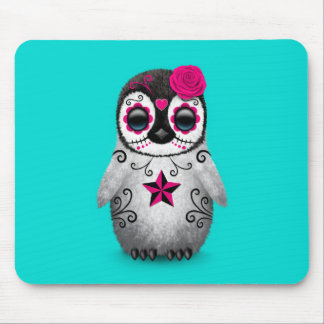 Pink Day of the Dead Sugar Skull Penguin Blue Mousepad