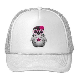 Pink Day of the Dead Sugar Skull Penguin Trucker Hat