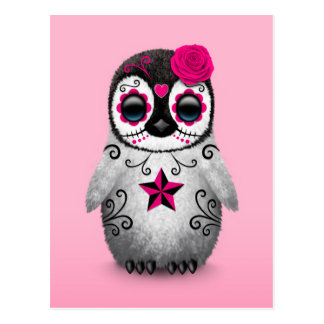 Pink Day of the Dead Sugar Skull Penguin Postcard