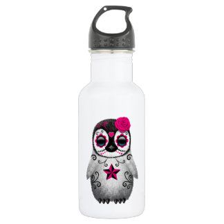 Pink Day of the Dead Sugar Skull Penguin Water Bottle