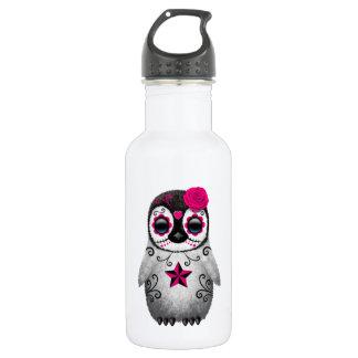 Pink Day of the Dead Sugar Skull Penguin Water Bottle