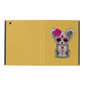 Pink Day of the Dead Sugar Skull White Lion Cub iPad Cases