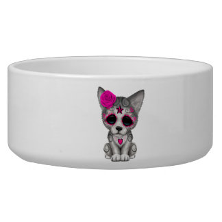 Pink Day of the Dead Wolf Cub Bowl
