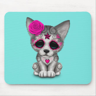 Pink Day of the Dead Wolf Cub Mouse Pad