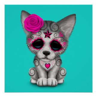 Pink Day of the Dead Wolf Cub Poster