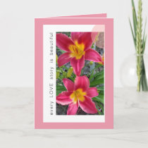 PINK DAYLILIES LOVE STORY -  GREETING CARD